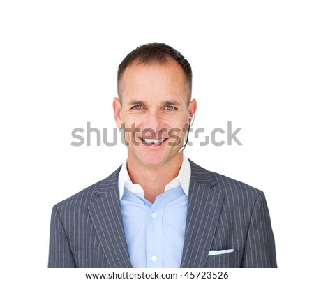 Cheerful businessman with headset on against a white background - stock photo
