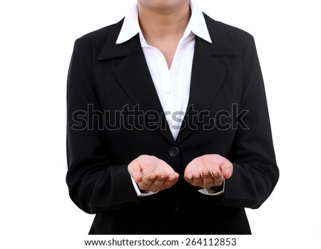 Cheerful businesswoman showing something on the palms of her hands - stock photo