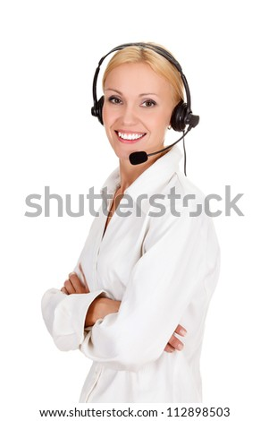 Cheerful call center operator against white background. - stock photo