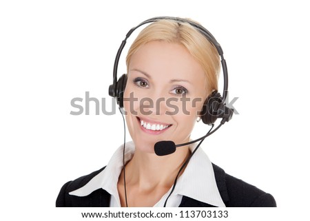 Cheerful call center operator against white background.. - stock photo