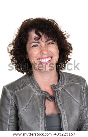 Cheerful caucasian lady in casuals isolated on white background. - stock photo