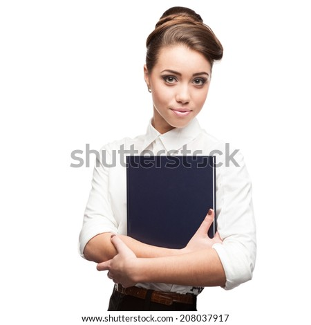 cheerful caucasian smiling young businesswoman holding book isolated on white - stock photo