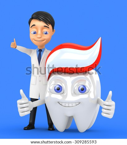 cheerful character 3d tooth on a blue background - stock photo