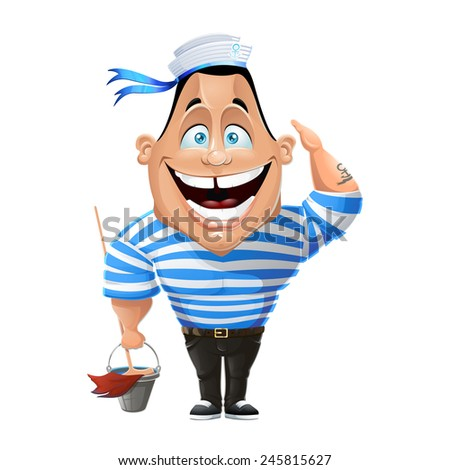 Cheerful character.Profession sailor. Funny illustration - stock photo