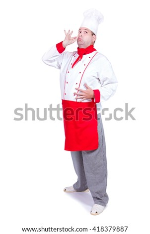 cheerful chef standing with gesture for perfect. Master cook isolated on white background. - stock photo