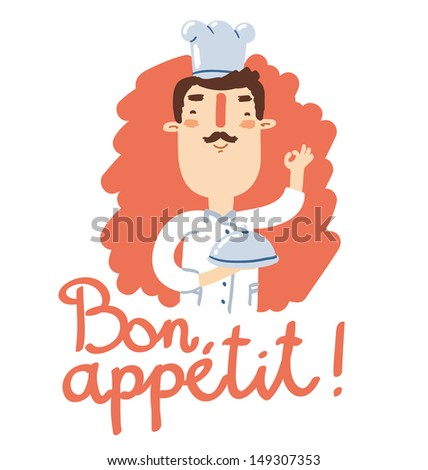 Cheerful chef with catering tray says bon appetit! Raster copy of vector file - stock photo