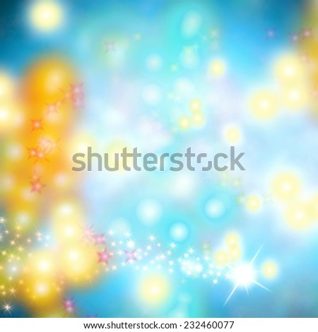 Cheerful Christmas abstract background with stars and lights - stock photo