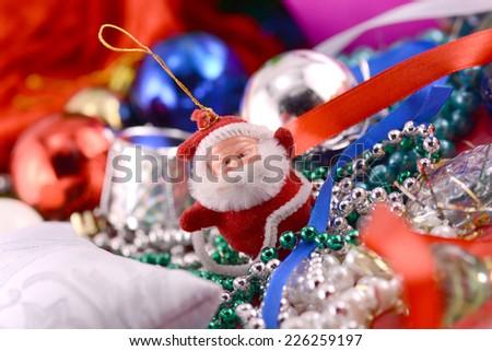Cheerful christmas santa claus, close up, xmas card - stock photo