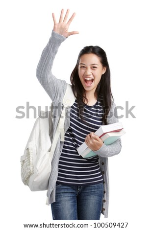 cheerful college student showing high-five hand sign - stock photo