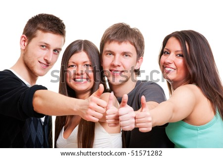 cheerful company showing thumbs up. isolated on white background - stock photo