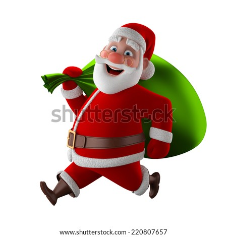 Cheerful 3d model of Santa claus, happy christmas icon, funny cartoon Christmas Grandpa, decorations for Christmas greetings card, web, advert. Kind model,  symbol isolated on white background - stock photo