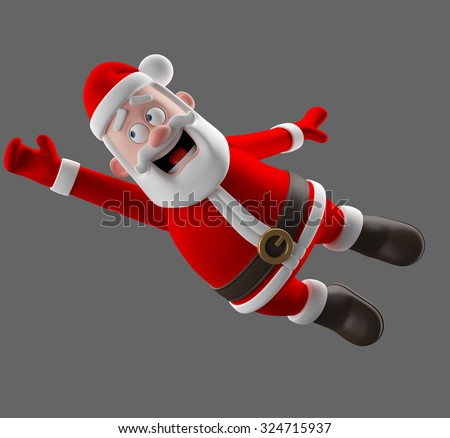 Cheerful 3d model of Santa claus, happy christmas icon, funny cartoon Christmas Grandpa, decorations for Christmas greetings card, web, advert. Kind model, symbol isolated, no background - stock photo