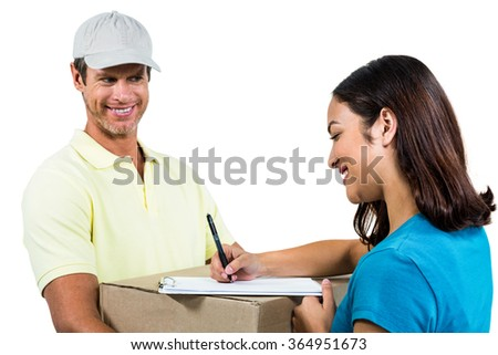 Cheerful delivery man with customer against white background - stock photo