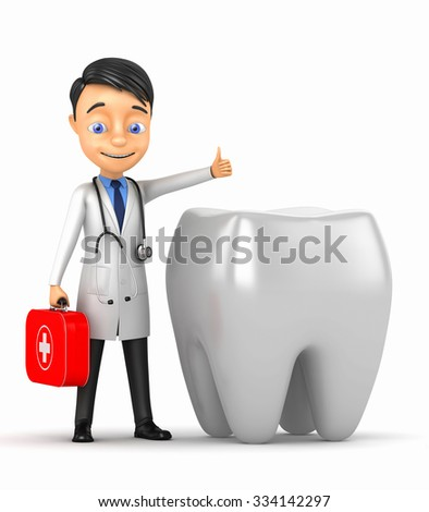 Cheerful doctor with a tooth on a white background - stock photo