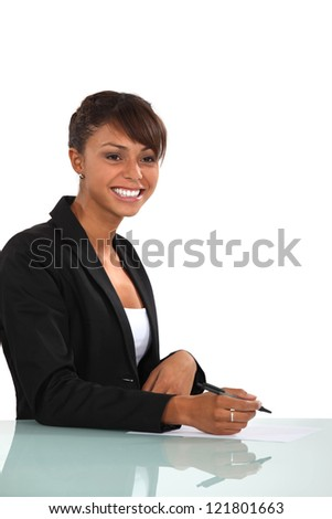 Cheerful employee - stock photo