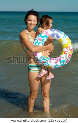 Cheerful family have a great time with each other's - stock photo