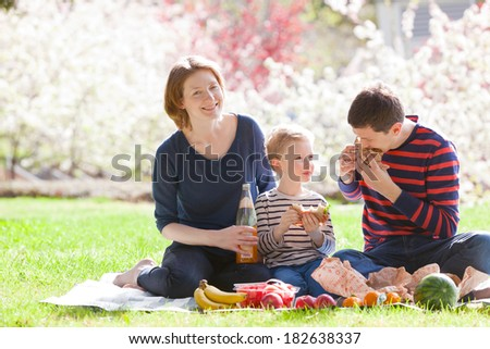 cheerful family of three having a picnic with sandwiches and fruits outside together - stock photo