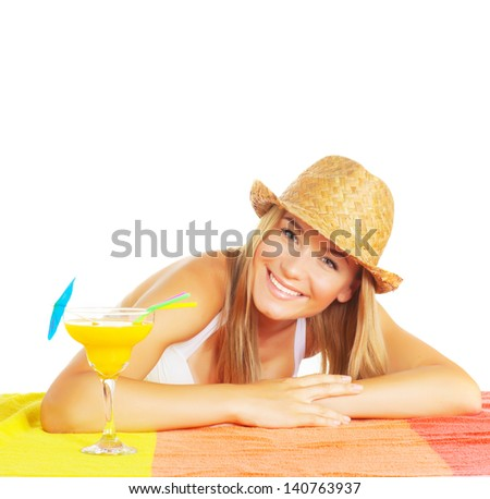 Cheerful female wearing stylish straw hat with fruit cocktail isolated on white background, relaxation in summer time, vacation and holiday concept - stock photo