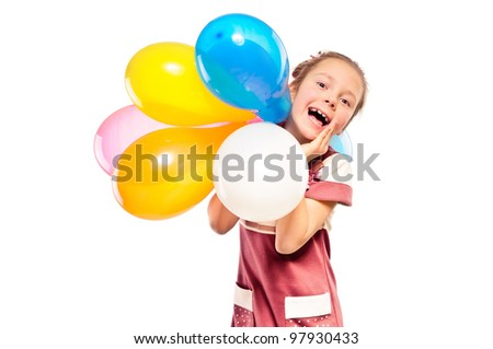 cheerful girl and multicolored balloons - stock photo