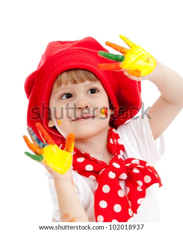 cheerful girl child with painted hands, isolated over white - stock photo