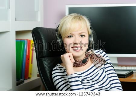 cheerful girl in headphones - stock photo