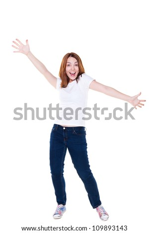 cheerful girl in white t-shirt and jeans. isolated on white background - stock photo