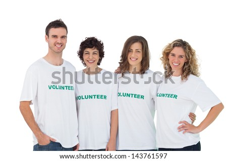 Cheerful group of volunteers on white background - stock photo