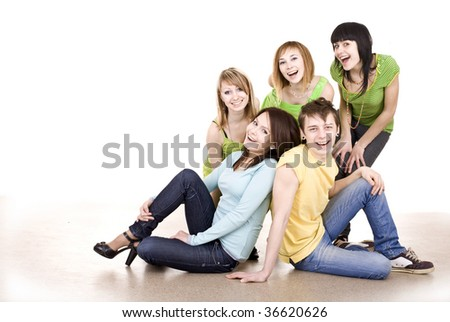 Cheerful group of young people. Isolated. - stock photo
