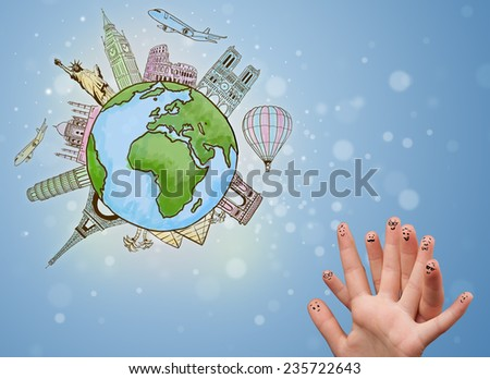 Cheerful happy smiling fingers with famous landmarks of the globe - stock photo