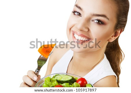 cheerful happy woman with salad on white background - stock photo