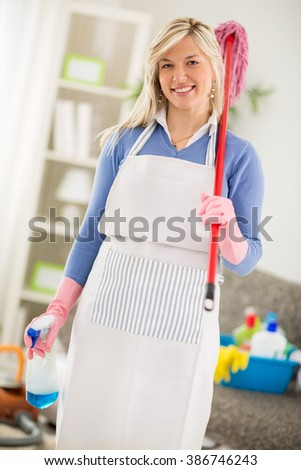 Cheerful hostess with equipment for cleaning house posing - stock photo