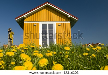 Cheerful house on spring meadow - stock photo