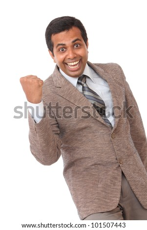 Cheerful Indian young business man - stock photo