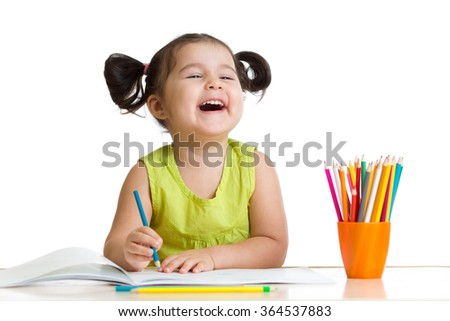 Cheerful kid girl with pencils - stock photo