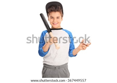 Cheerful kid holding a baseball bat and a baseball isolated on white background - stock photo