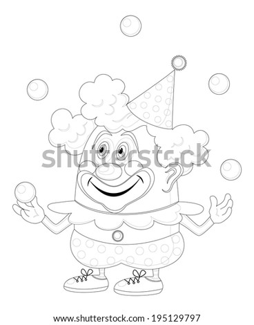 Cheerful kind circus clown juggling balls, holiday illustration, funny cartoon character, black contour isolated on white background. - stock photo