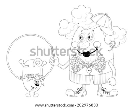 Cheerful kind circus clown with hoop, through which jumping trained dog, holiday illustration, funny cartoon character, black contour isolated on white background. - stock photo