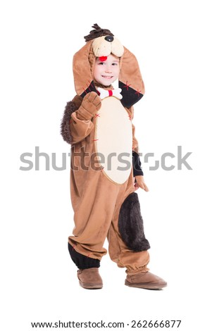 Cheerful little boy posing in a dog costume. Isolated on white - stock photo