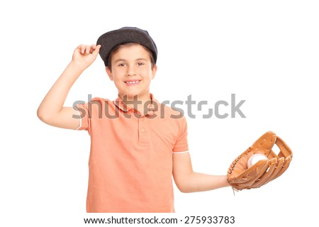 Cheerful little boy with a blue cap holding a baseball and looking at the camera isolated on white background - stock photo