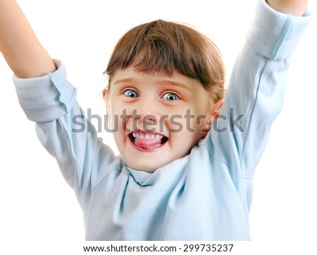 Cheerful Little Girl with Hands Up Isolated on the White Background - stock photo