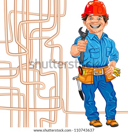 cheerful locksmith in the red helmet with the adjustable spanner in hand, against a background of copper water pipe - stock photo
