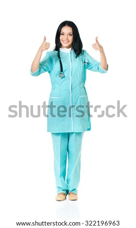 Cheerful medical doctor woman with stethoscope, isolated on white background - stock photo