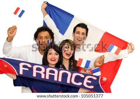 Cheerful men and women supporting France - stock photo