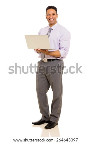 cheerful middle aged corporate worker holding laptop - stock photo