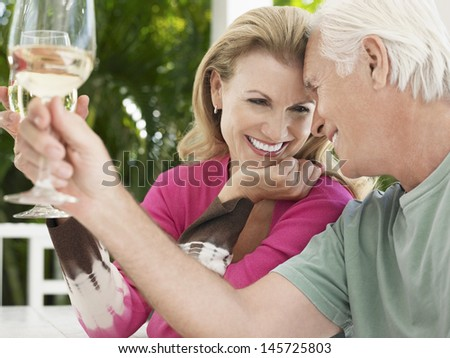 Cheerful middle aged couple toasting wine glasses - stock photo