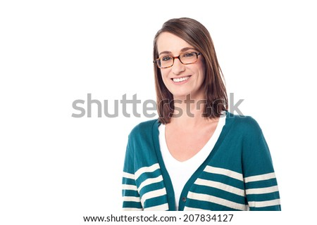 Cheerful middle aged woman isolated over white - stock photo