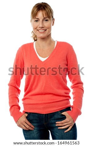 Cheerful middle aged woman posing in style - stock photo