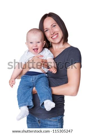 cheerful mother with smiley son. studio shot over white background - stock photo
