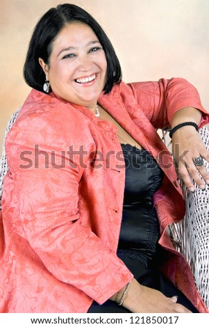 Cheerful obese women, studio shot - stock photo