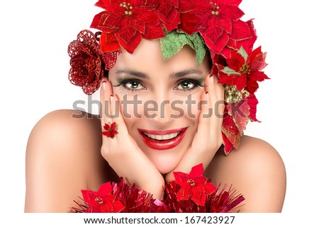 Cheerful party girl with holiday makeup and manicure. Floral hairstyle in gold and red isolated on white background - stock photo